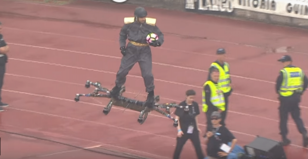 Man Riding Drone Delivers Ball for Portuguese Cup Final