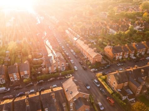 golden hour neighborhood drone