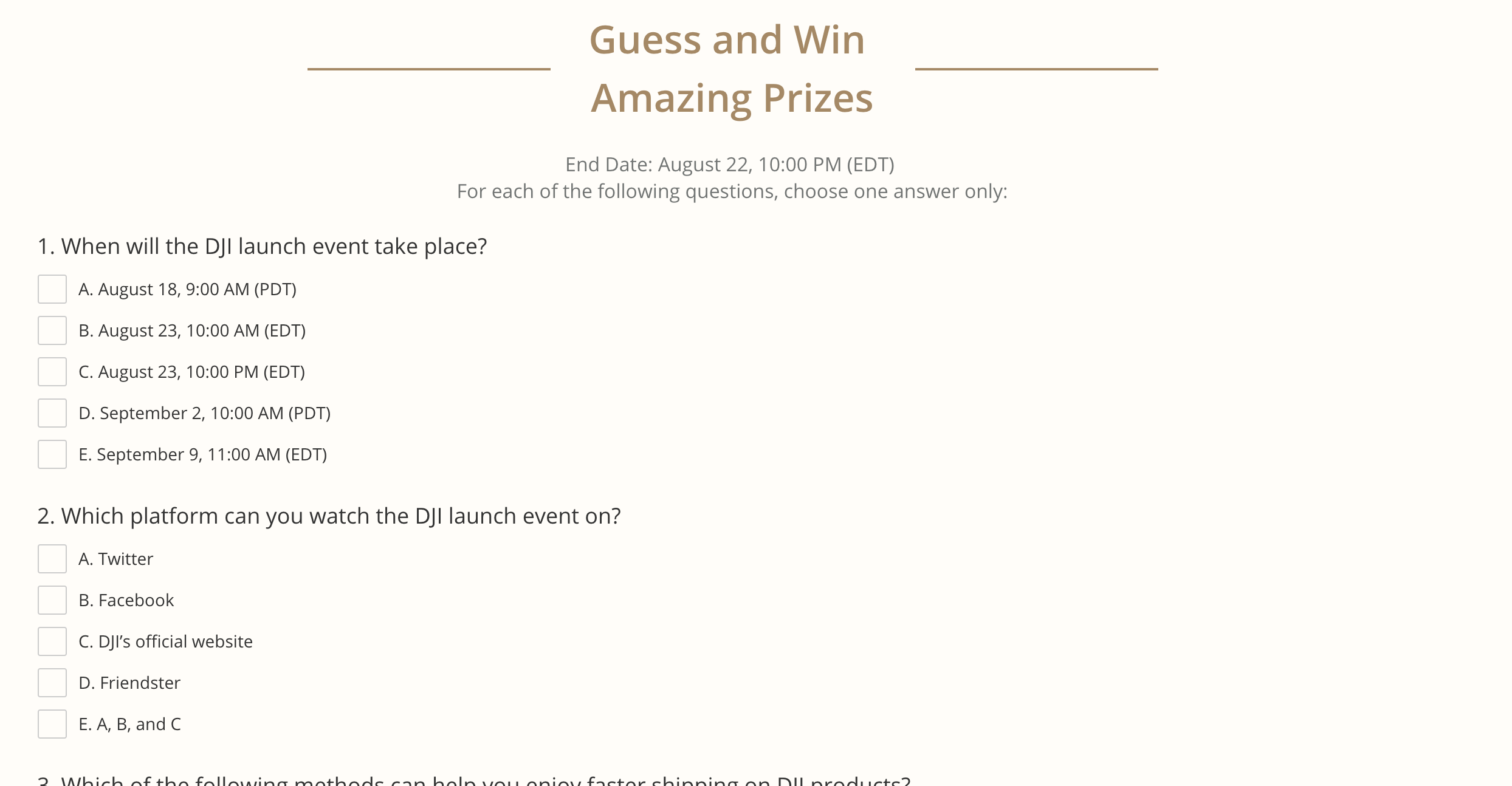 DJI Quiz + Free Priority Shipping Coupon