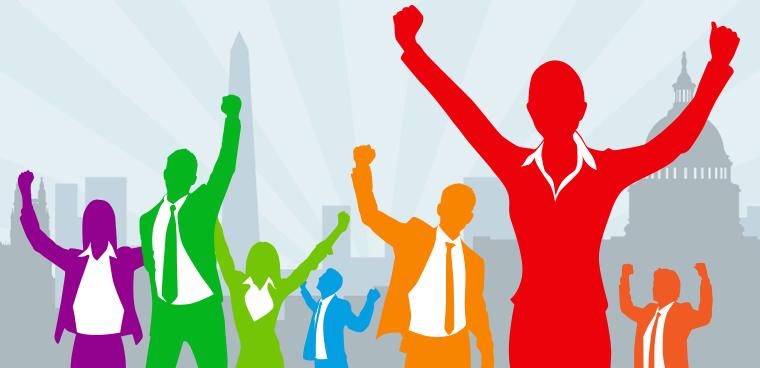 cheering federal workers