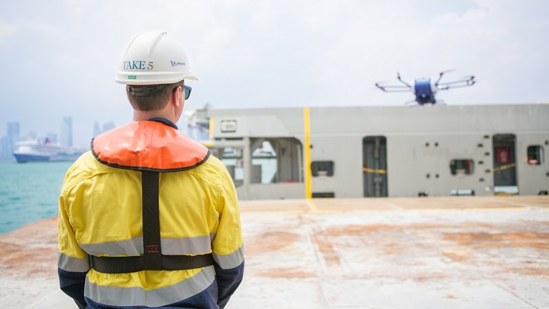 1600x900 Wilhelmsen Ships Agent with drone on Swire Pacific Offshore Vessel