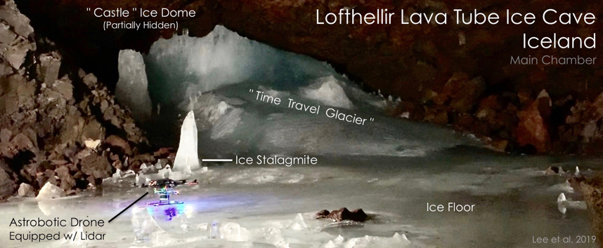 Astrobotic's LiDAR-equipped drone inside Main Chamber of the Lofthellir Lava Tube Ice Cave in Iceland