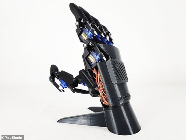 The hands are made from non-metallic parts created by a 3D printer which are then screwed togethe