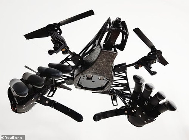 The hands, suspended from the rotor-bladed piece of kit, will also be able to execute potentially perilous tasks without risking lives, according to Youbionic