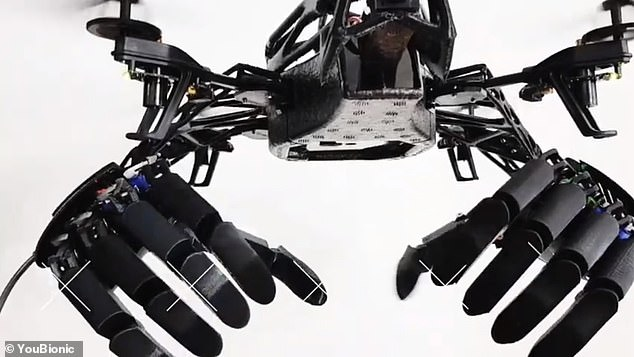 A team of inventors has developed a cutting-edge drone equipped with bionic hands which they claim will make everyday human tasks such a shopping a thing of the past