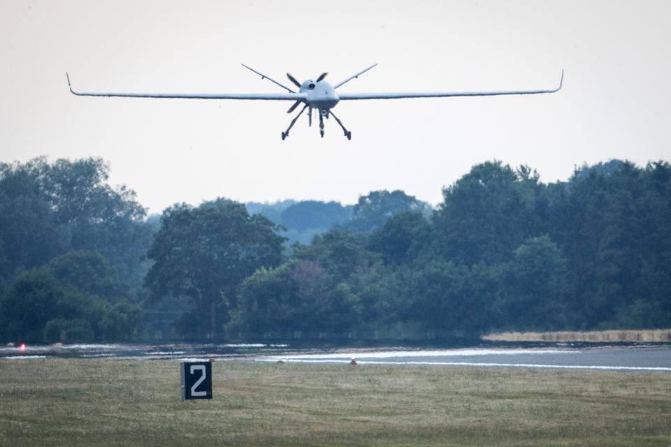 Unmanned SkyGuardian Drone Lands At RAF Fairford After Historic Transatlantic Flight